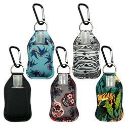 5 pcs Fashion Neoprene Sanitizer Holder Keychain with Carabi
