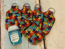 autism puzzle print hand sanitizer holder key