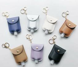 Empty Bottle PU Leather Hands Sanitizer Keychain Holder Refi