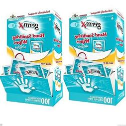 200 Germ X Hand Sanitizing Wipes Singles Individually Wrappe