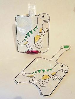 hand sanitizer holder white sparkle dinosaur embroidered