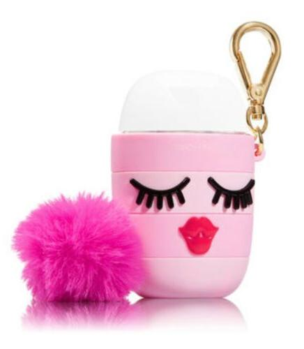 1X Bath & Body Works Pink Kissy Face Pom Pom PocketBac Holde
