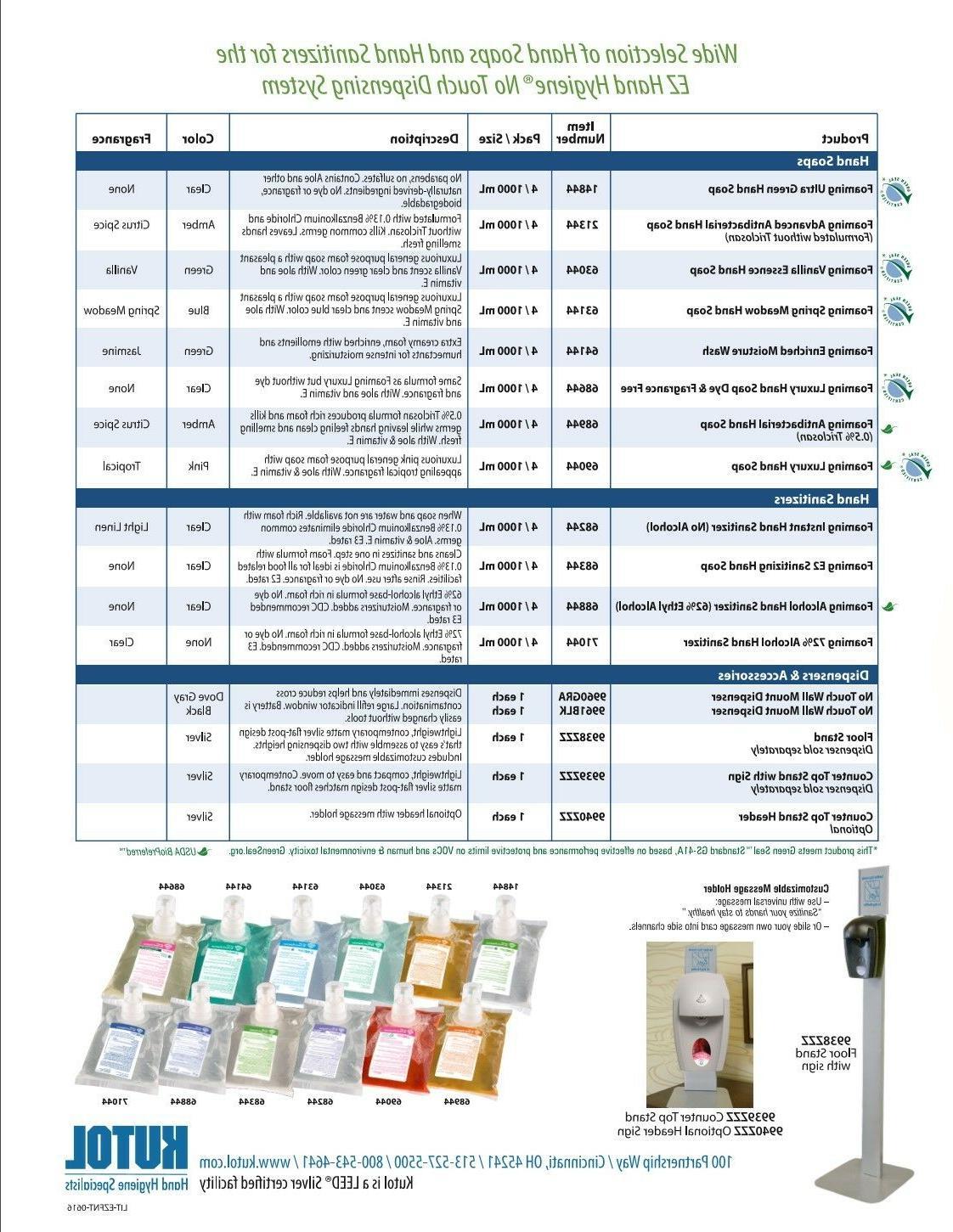 2 ea. Foam Sanitizer Dispenser, Kutol EZ Hand Hygiene # 9960GRA