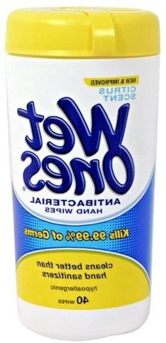 Wet Ones Antibacterial Hands & Face Wipes Citrus Scent 40 Co