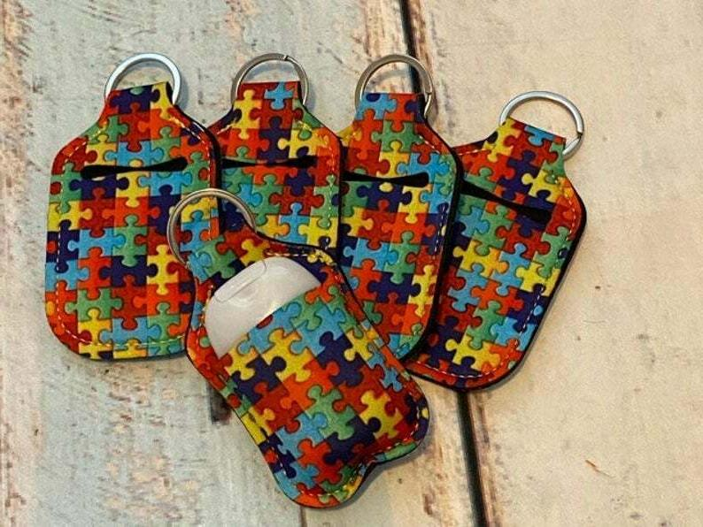 AUTISM Puzzle Print SANITIZER Key Chain Air Pod
