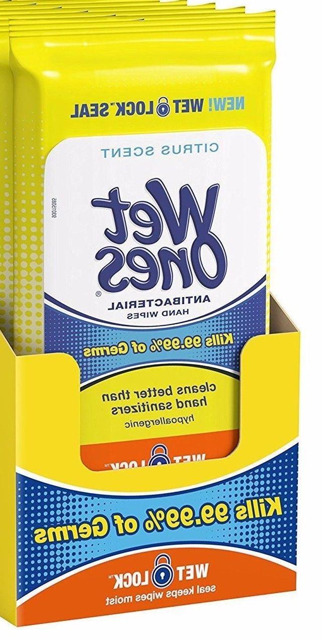 Wet Ones Citrus Antibacterial Hand Wipes 20 Count