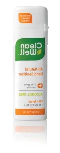 CleanWell Natural Hand Sanitizer; 1 oz Spray - Orange Vanill