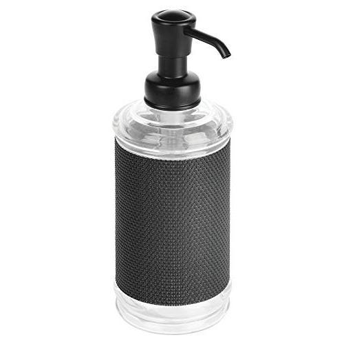 mDesign Refillable Plastic Liquid Hand Dispenser Bottle Bathroom, Kitchen - Soaps, Hand & Clear/Black