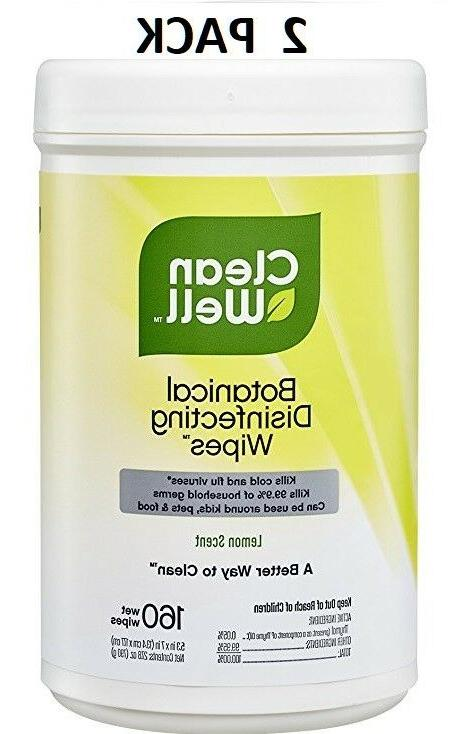 Cleanwell Disinfecting Wipes LEMON SCENT 160 Wipes  FAST FRE