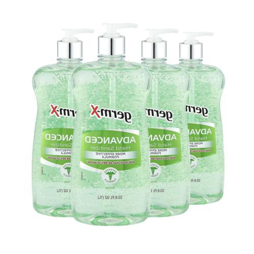 Germ-X Advanced Hand Sanitizer, Aloe, Pump Bottle, 33.80 Flu
