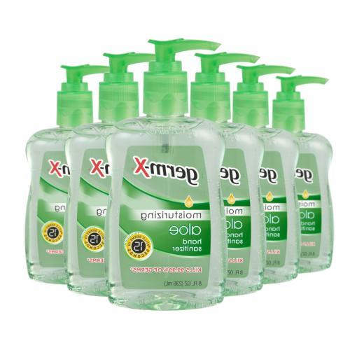 Germ-X Hand Sanitizer, Aloe, Pump Bottle, 8 Fluid Ounce Pack