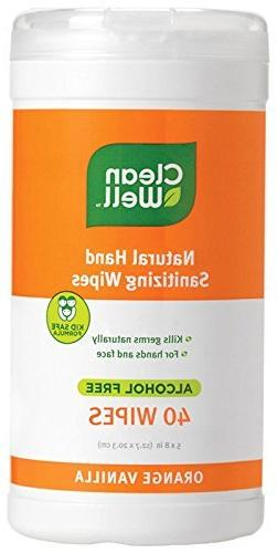 CleanWell Natural Hand Sanitizer Wipes - Orange Vanilla - 40