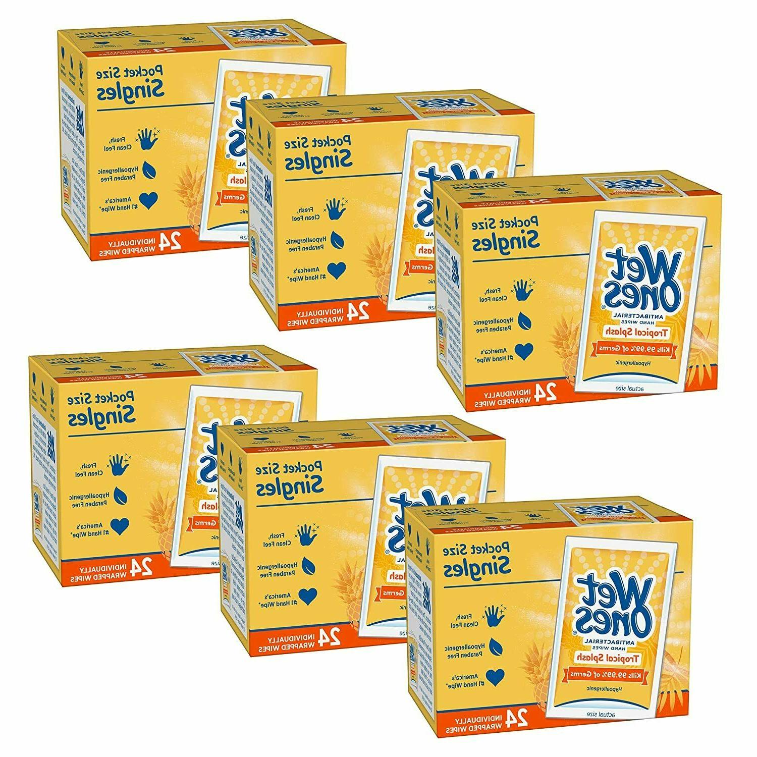 hand sanitizing wipes individual singles tropical 24