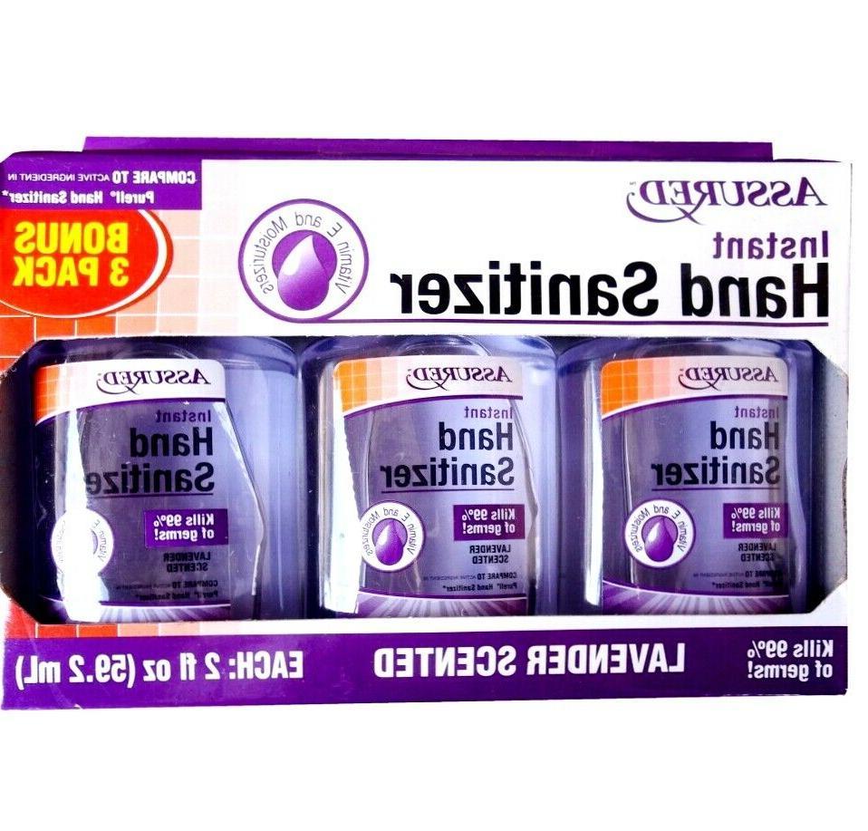 Assured Instant Hand Sanitizer 3-Pack Travel Size Lavender S