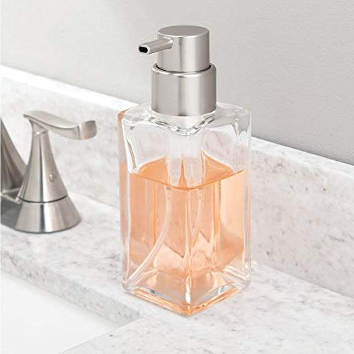 mDesign Glass Refillable Liquid Bottle Countertop, Sink Holds Hand Soap, Sanitizer, Oils 2 - Clear/Brushed
