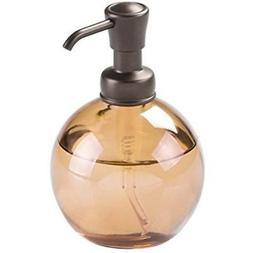 mDesign Round Glass Refillable Liquid Soap Dispenser Pump Bo