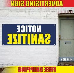 NOTICE SANITIZE Banner Advertising Vinyl Sign Flag wash hand