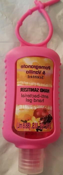 Pomegranate & Vanilla scented hand sanitizer with a holder~3