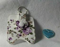 Purple Flowered Hand Sanitizer Holder Free Shipping