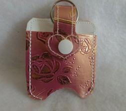 Rose Embossed with silver Hand Sanitizer Holder Free Shippin