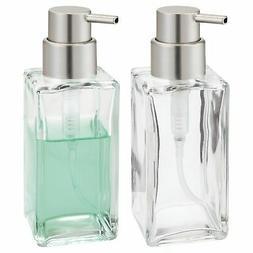 mDesign Square Glass Refillable Liquid Soap Dispenser Pump B
